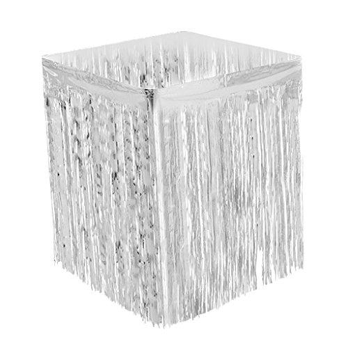 MagiDeal Tischrock Tisch Lametta Vorhänge Tisch Röcke Fadenvorhang Glittervorhang für Hochzeit Party Dekoration - Silber (Silber-metallic Tisch Rock)