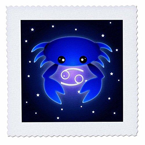 3dRose Qs_28551_1 Niedliches Sternzeichen-Sternzeichen, Krebs-Steppdecke, 25,4 x 25,4 cm, Blau