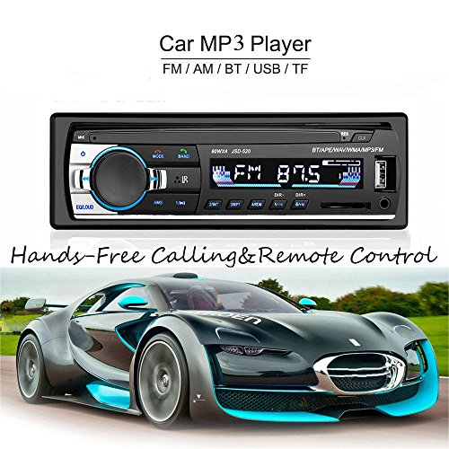 LSLYA Lecteur MP3/WMA De Voiture Écran TFT Radio FM AM Coche 4 Haut-Parleur Support Vidéo USB/SD/MMC ID3 Affichage Avec Bluetooth Main Libre Appel Et Intégré EQ + Télécommande + Volant...