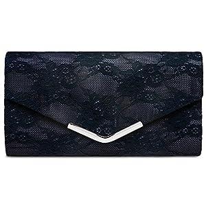 CASPAR TA429 elegante Damen Envelope Clutch Tasche Abendtasche mit Spitze