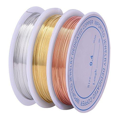 3 Pezzi 0.4 mm Rotolo di Filo per Perline Gioielli Resistente all\'Appannamento Nudo per Fabricazione di Mestieri Perline Gioielli