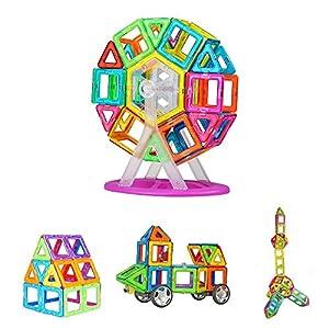 Bloques de Construcción, Crenova Magnéticos Building Blocks 50 Piezas Juegos de Construcción Para La Educación Del Niño de Los Ladrillos de Construcción Juguetes Ferris Wheel y Bolsa de Almacenamiento Incluida de Crenova
