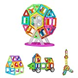 Crenova Magnetic Building Blocks Rainbow Set 53 Pieces Inspire Standard Construction Set-Creative and Educational Toys-Ferris Wheel & Storage Bag