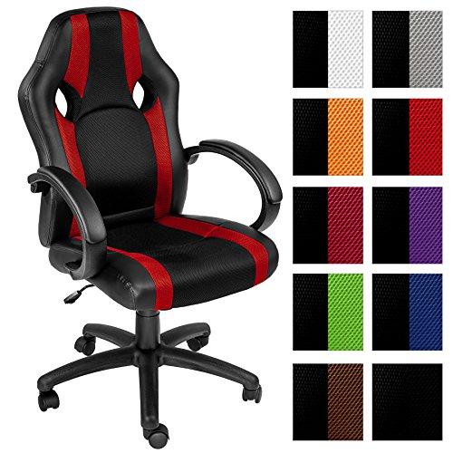 TecTake Bürostuhl Racing Chefsessel Sportsitz mit gepolsterten Armlehnen schwarz - rot