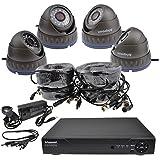 vidéosurveillance CCTV Kit 4x 720p AHD Noir Caméras Avec 18m Câbles & 4 Channel 1tb DVR