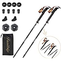 Fazitrip Trekking Poles, Walking Poles Hiking Poles 1 & 2 Pack, Adjustable (115-130)cm, 38cm Length Small Packed, Anti-shock Quick Lock System, Collapsible Lightweight, Ideal for Mens Women Backpacking, Mountaineering and Hiking