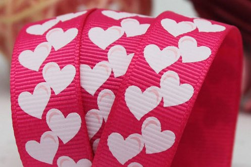 Rotolo di nastro in tessuto gros grain, 16 mm, risma 20yds, colore rosa/bianco