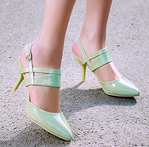 Aisun Femme Mode Kitten-Heel Bout Pointu Sandales Avec Boucle Vert