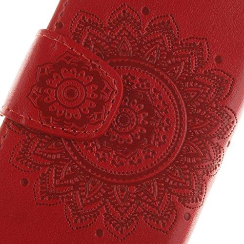 Custodia per iphone 5S Portafoglio, iphone SE Cover a libro, MoreChioce Lusso Bookstyle Rigida Vintage Flip PU Pelle Leather Cover Ragazza Ragazzo Moda (Fibbia Reverse) Design Modello Mandala Relief U A-Rosso
