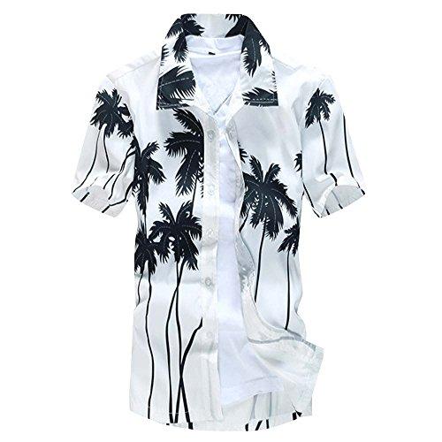 Rera Herren Sommer Hawaiihemd mit Beach Motiv aufdrücken Kurzärmeligoder Langarm Urlaub Strand T-Shirt Strandhemd Freizeithemd (Weiße Langarm-hawaii-shirt)