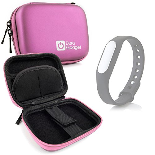 DURAGADGET Custodia Rigida Rosa per Xiaomi Mi Band 1S / Mi-Band | Jawbone UP3 / UP2 - con Elastici - Ideale per I Viaggi! - Alta qualità
