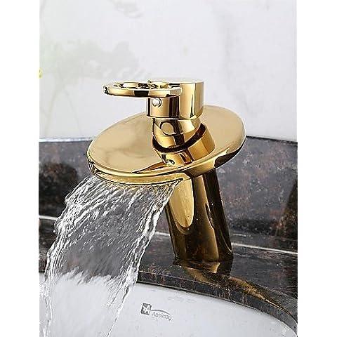 Bazar Chino acabado ti-pvd cascada de latón macizo grifo del fregadero cuarto de baño de oro