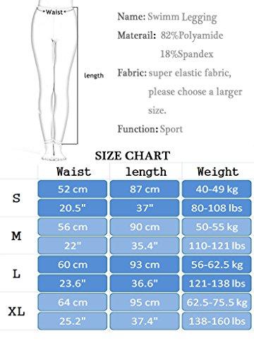 OUO Damen UV Schutz Schwimm Leggings Hose Bademode Watersport Legging lange Schwarz mit weiß