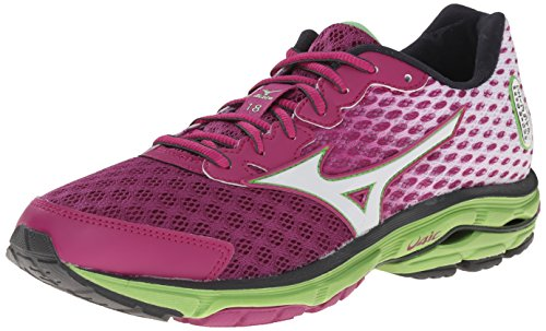 Mizuno Wave Rider 18 Large Synthétique Chaussure de Course Purple-White-Green