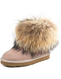 Shenduo Zapatos Invierno - Botas de nieve calientes de piel con pelo forradas con suela antideslizante para Mujer D9251