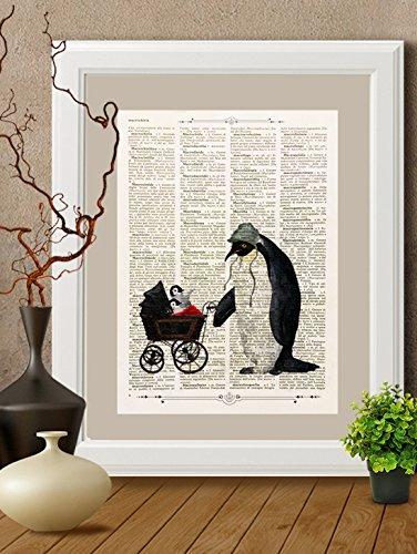 stampa-pinguino-tata-con-cuccioli-su-pagina-di-libro-antico