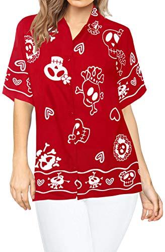 Womens Kostüm Übergröße Hexe - LA LEELA Pumkin Scary Horror Grusel Ghosts Witch Besen Party Festliche Hexen Schädel Happy Halloween kostüm Kürbis Teufel Blusen zuknöpfen Frauen Hawaiihemd Urlaub entspannt Kurze Ärmel XXL Rot_W982