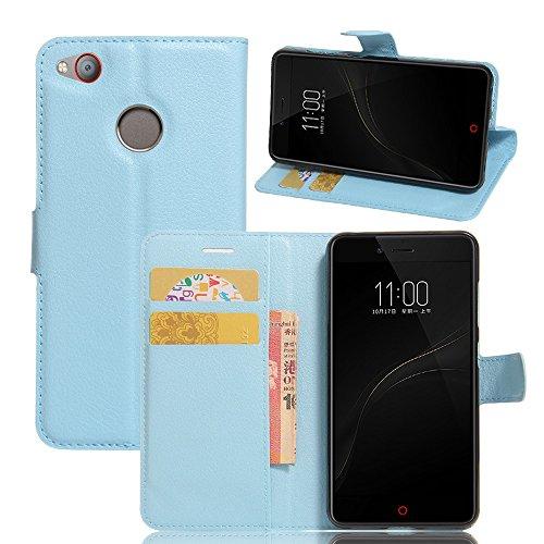 Tasche für ZTE Nubia Z11 Mini S Hülle, Ycloud PU Ledertasche Flip Cover Wallet Case Handyhülle mit Stand Function Credit Card Slots Bookstyle Purse Design blau