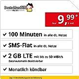 DeutschlandSIM Tarifa móvil con Tarjeta de prepago SIM y Micro SIM, de Recarga mensual (500MB de de procesamiento de Datos y telefonía de Tarifa Planas, 9CT Pro SMS)