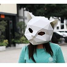 Maxleaf 3D Máscara de papel Cabeza de Animal Moldes DIY Fiesta de Halloween Costume Cosplay Facial