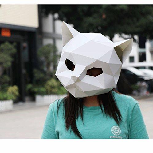 Maxleaf 3D Papier Maske Tierkopf Formen DIY Halloween Party Kostüm Cosplay Gesichts Papier-Handwerk Kit Cat ()