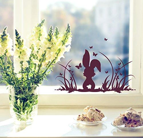 ilka parey wandtattoo welt Fensterbilder Fensterdeko Ostern Frühling Hase Häschen Osterhase Wiese und Schmetterlinge M1364f