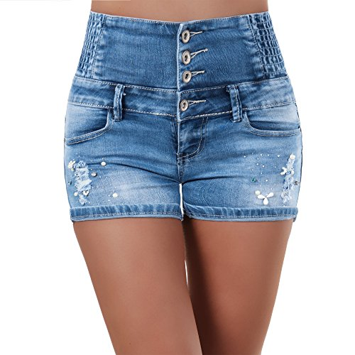 N128 Damen Jeans kurze Hose Damenjeans Corsage Shorts Bermuda Hochbund HighWaist, Farben:Blau;Größen:34 (XS) (Taille Nadelstreifen-shorts Elastische)