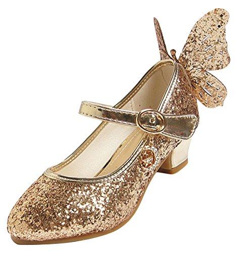 Paillette Strass Et Kostüm (SMITHROAD Kinder Mädchen Prinzessin Schuhe Kostüm Ballerinas Halbschuhe Paillette mit Schmetterling Dekor Golden)