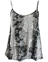 Home of Fashion Womens Black and Cream Snake Print Camisole Vest Top
