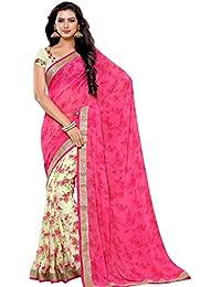 Alveera Latest Collection Floral Printed Laced Border Designer Georgette Saree With Blouse - Taser Pink