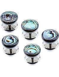 Hawson - Juego de 5 piezas de madreperla como botones para esmoquin, set de accesorios para camisa de hombre, ideal para boda o negocios