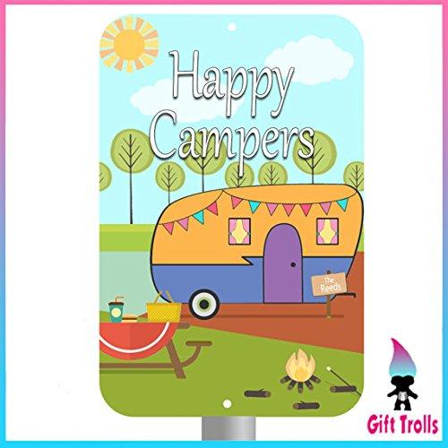 Mentalsign Happy Camper Personalisiertes Schild mit Anpassbare Farben-Camping Zubehör, Geschenke für Familie-Anpassen mit Ihrer Familie Namen-Süße Camp 20,3x 30,5cm Schild