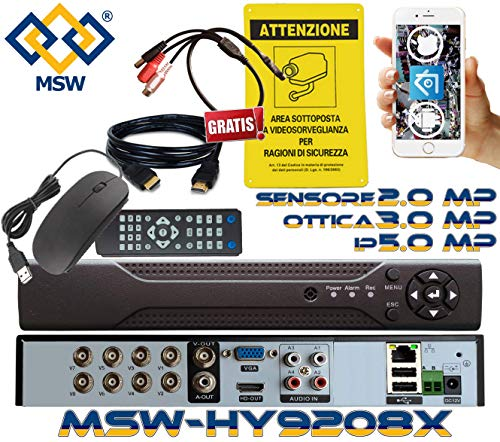 MSW-HY9208X - DVR NVR IBRIDO 8 Canali SENZA HD INSTALLATO - Per Telecamere 3.0 MP / 1080P Sistema di Videosorveglianza 5 IN 1 Dispositivo 16 CANALI IN MODALITA' NVR con Telecamere IP