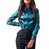 Bluse Seide Damen, Ulanda Frauen Teenager Mädchen Elegant Oberteile Stehkragen Langarm Hemdbluse Casual Langarmshirt Sommerliche Vintage Tunika Hemd T-Shirt (Grün, M)
