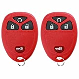 KeylessOption Keyless Entry Remote Control Car Key Fob Replacement 15913421 Pack of 2 Red