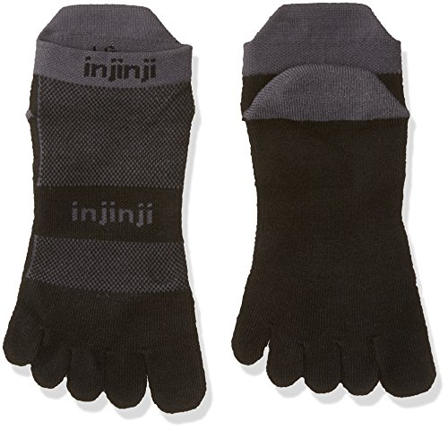 Injinji Performance 2.0 Run Midweight No-Show CoolMax XtraLife Toe Socks - Black/Gray-XL -