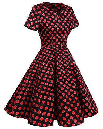 Bridesmay 1950's Rockabilly Damen Retro Vintage Cocktailkleid kurzarm knielang Partykleider Black Red Dot