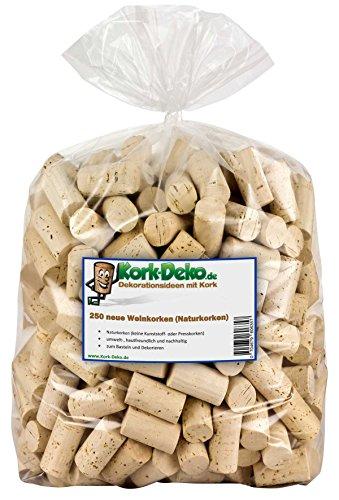 Kork-Deko 250 Weinkorken | Korken zum Basteln und Dekorieren | Flaschenkorken aus Naturkork, Deko Korkstopfen