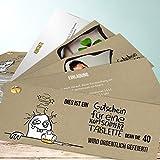 Einladungskarten zum 40 Geburtstag, Hangover 40 200 Karten, Kartenfächer 210x80 inkl. weiße Umschläge, Braun