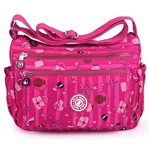 ABLE Spritzer Wasser Nylon-Tasche Kuriertasche, Crossbody Messenger Shoppertasche Umhängetasche Crossover Bag Schultertasche (2-Rose) -
