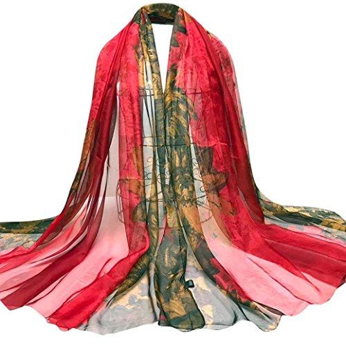 Frauen-schnee-jacken (OverDose Damen Schal, Fashion Lady Tücher Blätter Blumen Lange Wrap Frauen Schal Chiffon Schal Halstuch Seide Schals)