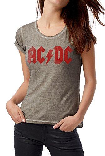 LaMAGLIERIA T-Shirt Donna Vintage Look AC DC Red Logo Grunge Print COD. Grpr0009 - Maglietta DNM Plug in Effetto Vintage con Stampa Rock Grey Clash