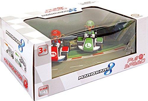 Unbekannt Pull&Speed 15813011 - Mario Kart 8 Twinpack Mario, Luigi , Fahrzeuge mit Funktion