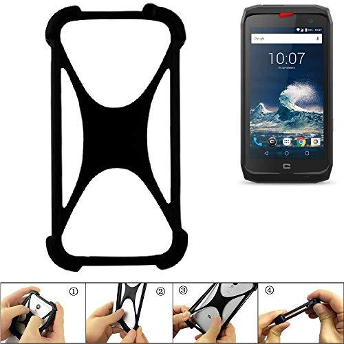 K-S-Trade Handyhülle Crosscall Action-X3 Silikon Schutz Hülle Cover Case Bumper Silikoncase TPU Softcase Schutzhülle Smartphone Stoßschutz, schwarz (1x)