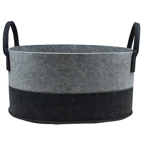 Hochwertiger Filz-Korb Filzkörbe oval grau-schwarz mit Henkel von MACOSA HOME, stabil und robust. Verschiedene Größen oder im 3er Set. Allzweckkorb Filz, Aufbewahrung, Filz-Box (L (41x34 cm))