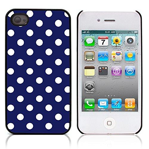 Graphic4You Polka Punkt Dots Muster Design Harte Hülle Case Tasche Schutzhülle für Apple iPhone 4 und 4S (Rot) Marineblau
