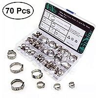 OUNONA 70PCS 304 Edelstahl einzelne Ohr Rohrschellen Rohr Schlauch anziehen Teile Sortiment Kit mit Aufbewahrungsbox (Durchmesser 7mm-21mm)