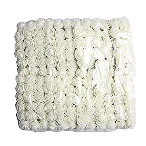 Carry stone 144 stücke 2 cm Pe Rose Schaum Mini Blumenstrauß Einfarbig/hochzeitsdekoration Milchig Weiß Künstliche Blumen Für Hochzeit