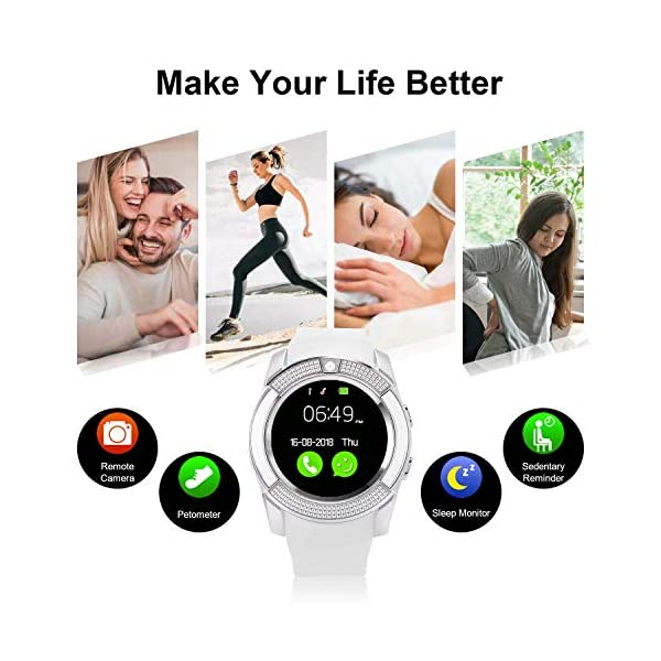 Tipmant Reloj Inteligente Mujer Hombre SN08 Smartwatch Pantalla táctil con Ranura para Tarjeta SIM Cámara Podómetro Pulsera de Actividad para Smartwatch para Xiaomi Samsung Huawei Android (Blanco) 4