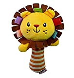Newin Star Kid Toys Baby Plush Rattle Squeaker Early Educational Doll Rod Cute Cartoon Animal Musical Plush Toy (lion)